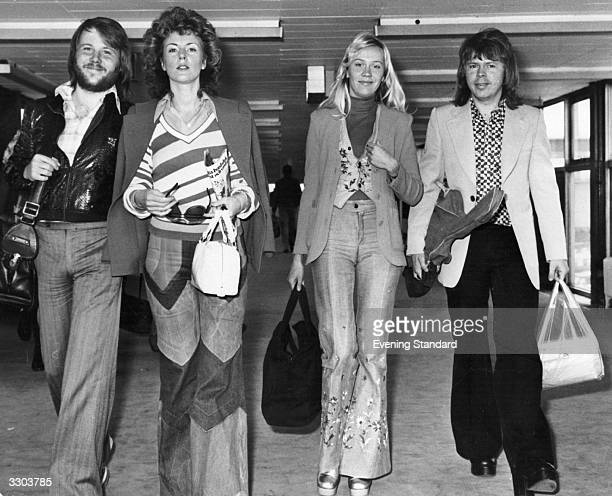 Swedish pop group Abba arriving at London Airport