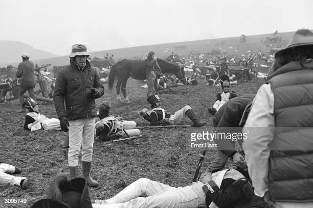 Woody Allen supervises the aftermath of a battle scene in the comedy 'Love and Death' set during the Napoleonic Wars