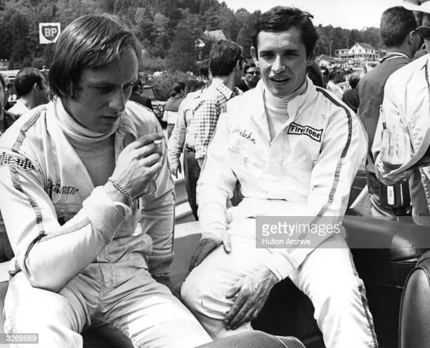 Belgian motor racing driver Jacky Ickx winner of the Le Mans 24hour race a record six times from 1969 1981 and world champion in 19821983 with Chris...
