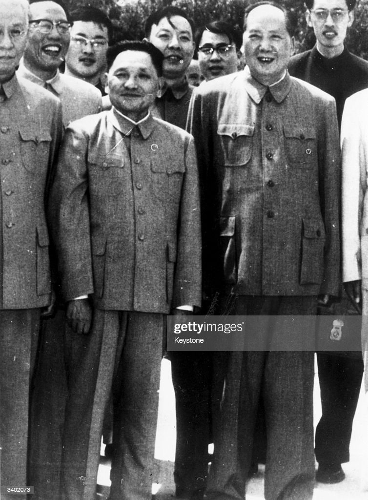 Chinese communist leader and first President of the People's Republic of China Mao Zedong with Deng Xiaoping at Peking