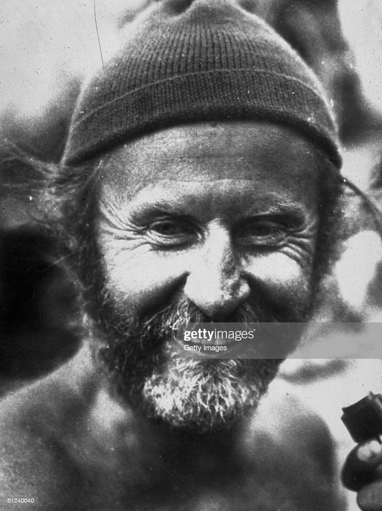 Circa 1975, Headshot portrait of Norwegian explorer and anthropologist <a gi-track='captionPersonalityLinkClicked' href=/galleries/search?phrase=Thor+Heyerdahl&family=editorial&specificpeople=931459 ng-click='$event.stopPropagation()'>Thor Heyerdahl</a> (1914 - 2002) with a beard, wearing a knit cap, 1970s. He is most famous for the KonTiki Expedition, crossing the Pacific Ocean on a balsa wood raft.