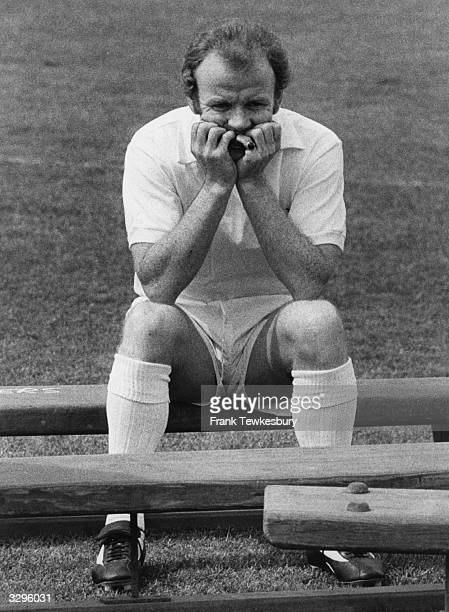 Leeds United football player Billy Bremner takes a break from training at Elland Road