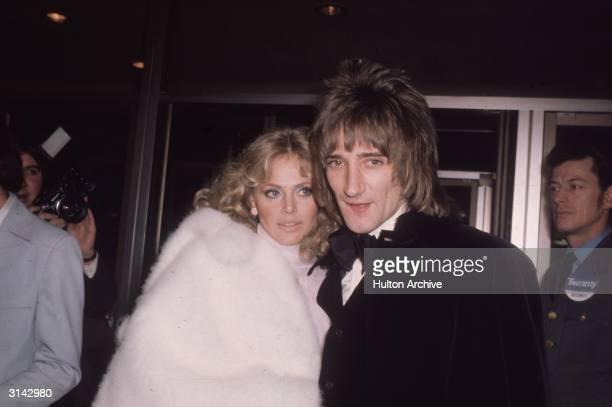 Rock star Rod Stewart with girl friend film star Britt Ekland