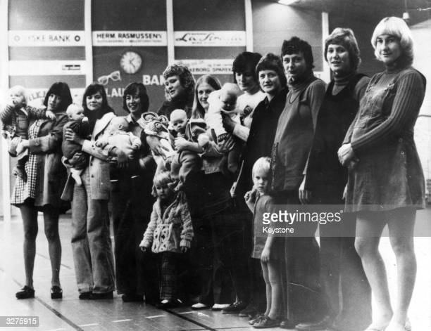 Ten of the women from a Danish handball team unable to play because they were either pregnant or had just had babies