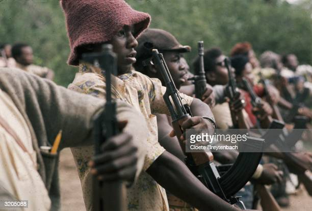 Members of Jonas Savimbi's UNITA movement training with Chinese weapons in a camp in South East Angola