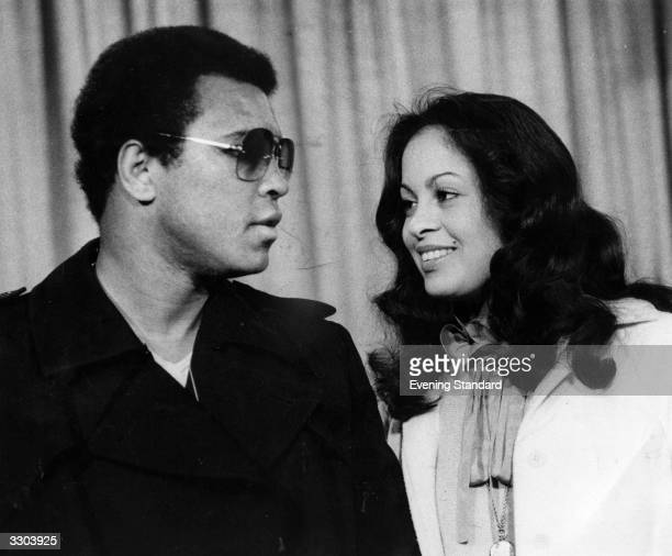 Muhammad Ali and his wife Veronica at Heathrow Airport
