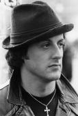 American screen star Sylvester Stallone famed for his macho roles in such films as 'Rocky' and 'Rambo'