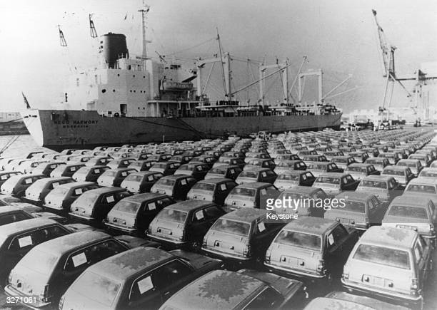 Cars lined up awaiting shipment at Yokohama Docks Japan