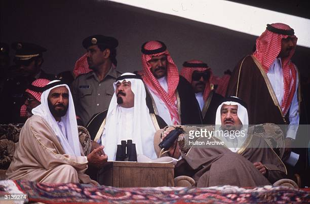 From left to right Sheikh Zayed bin Sultan AlNahyan President of the UAE Prince Abdullah Ibn Abdul Aziz the Crown Prince of Saudi Arabia and King...