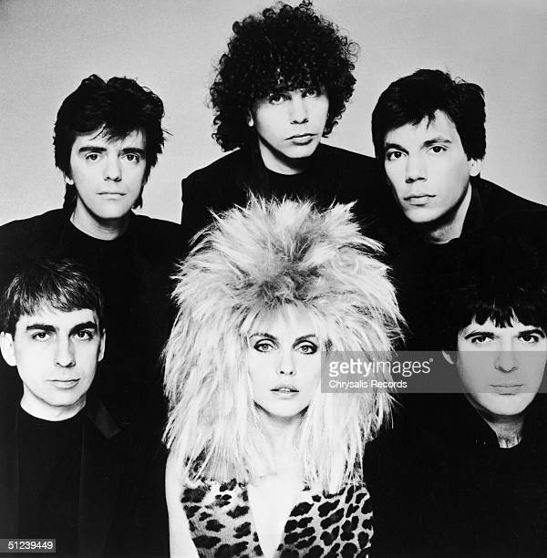 Circa 1980 Portrait of American rock group Blondie Clockwise from bottom left Clem Burke Frank Infante Nigel Harrison Jimmy Destri Chris Stein and...