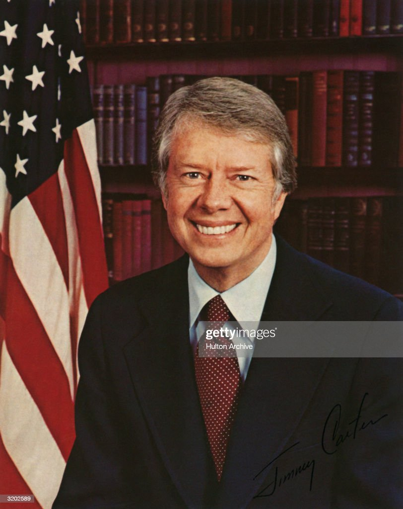 Portrait of Jimmy Carter the thirtyninth President of the United States who served from 1977 to 1981 Carter oversaw the Panama Treaty and the Camp...