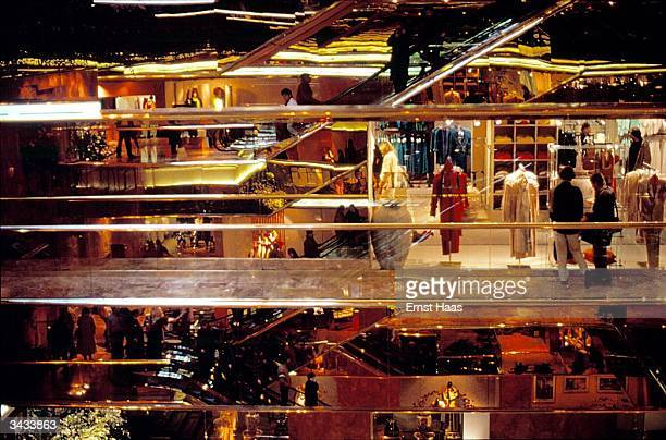 Shops and shoppers inside Trump Tower in New York City