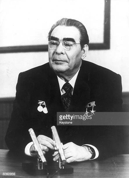 Soviet leader Leonid Brezhnev in his office at the Kremlin