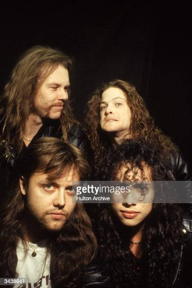 American heavy metal rock group Metallica Clockwise Drummer Lars Ulrich singer and guitarist James Hetfield bass player Jason Newsted and guitarist...