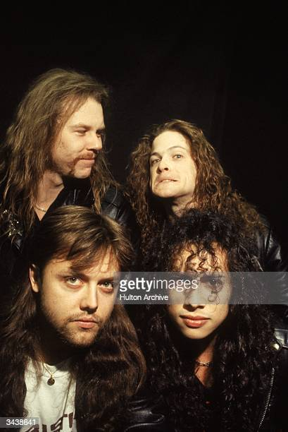 American heavy metal rock group Metallica Clockwise Drummer Lars Ulrich singer and guitarist James Hetfield bass player Jason Newsted and guitarist...