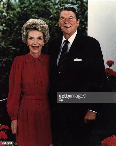 Republican politician actor and the 40th President of the United States Ronald Reagan with his wife Nancy a former actress