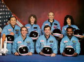 The crew of the disastrous STS 51L mission Ellison S Onizuka Sharon Christa McAuliffe Gregory B Jarvis Judith A Resnik Michael J Smith Francis R...
