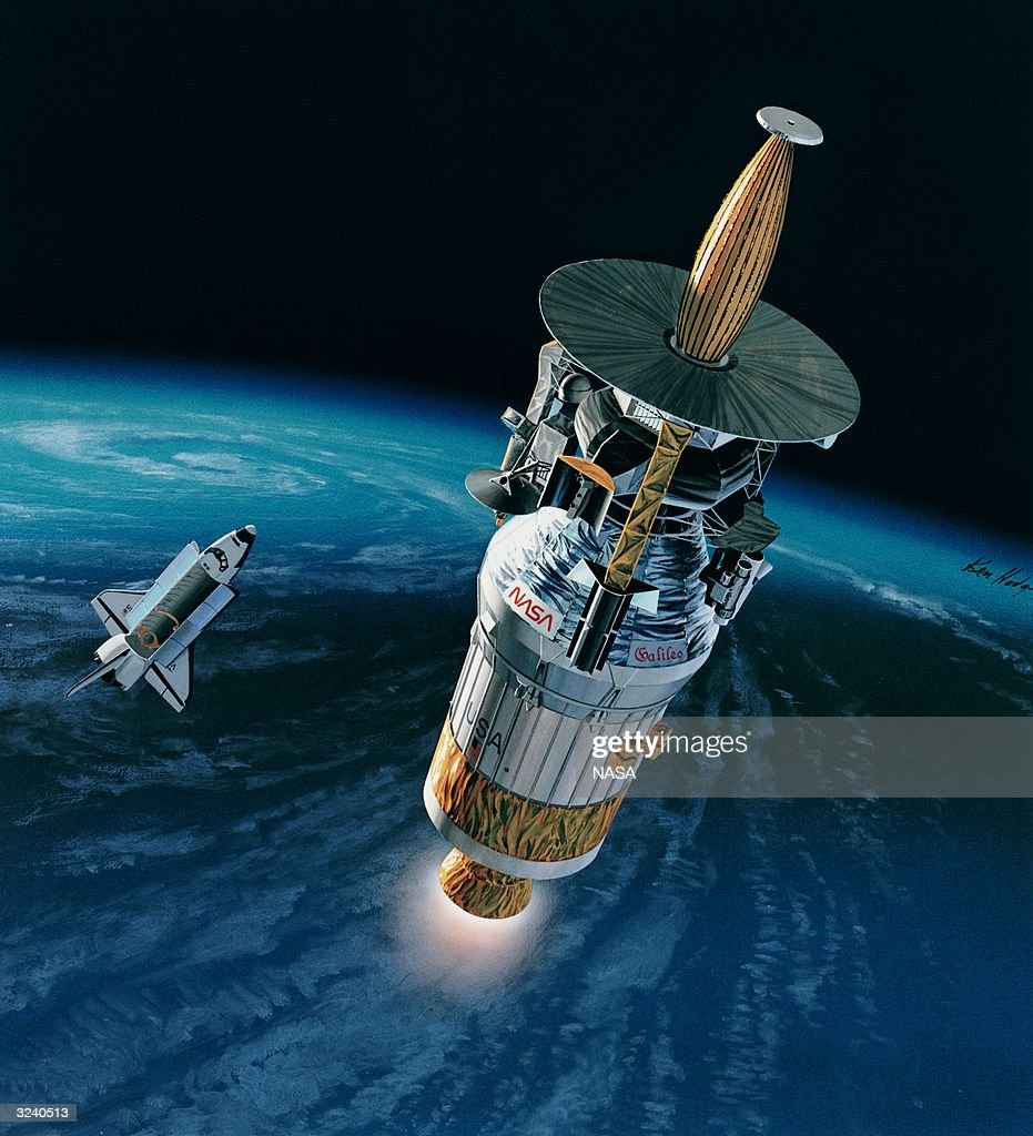 An artist's impression of the Galileo probe just after its release from the Space Shuttle Atlantis The probe's six year mission includes a study of...