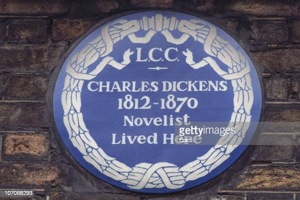 A blue plaque on the wall of the Charles Dickens Museum on Doughty Street London commemorating the fact that the famous novelist once lived there