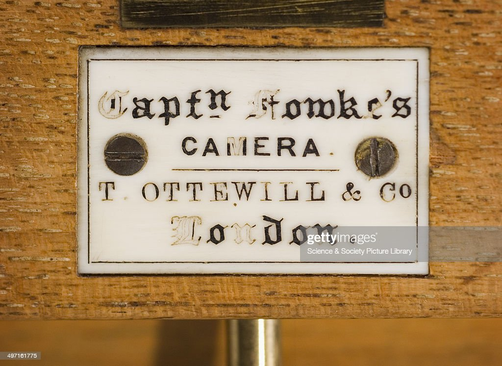 A close-up of the plaque on Captain Fowke's Bellows Camera, invented by Francis Fowke in 1856. From the National Media Museum.