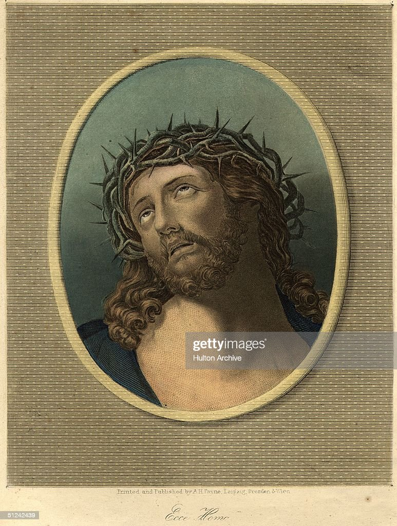 Circa 29 AD Jesus wearing the crown of thorns at his crucifixion