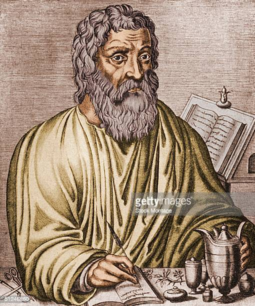 Circa 400 BC Portrait of Hippocrates Greek physician Known as the 'father of medicine' he developed the belief that four fluids of the body are the...