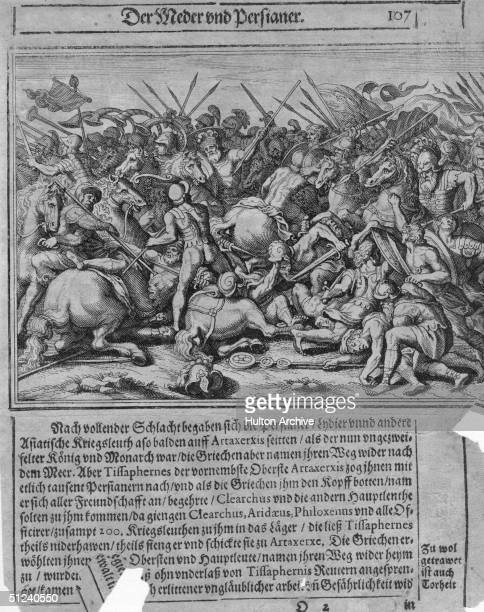 Circa 480 BC An illustration from a 17th century German Encyclopaedia of the battle between the Greeks and the Persians in 490 467 BC