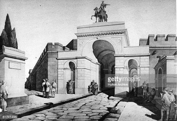 Circa 50 AD An artist's impression of the Gate of Herculaneum