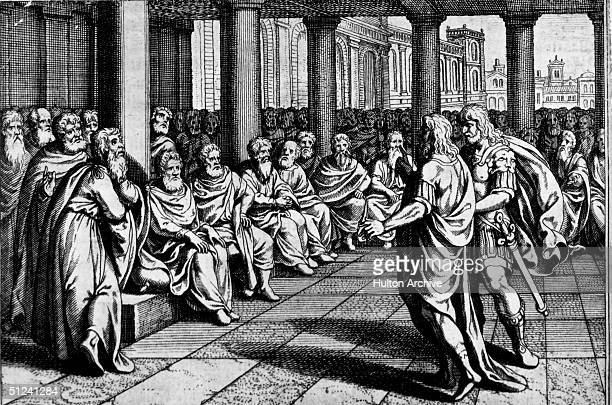 Circa 50 BC A group of Romans debating during an election where the Senators may choose a dictator