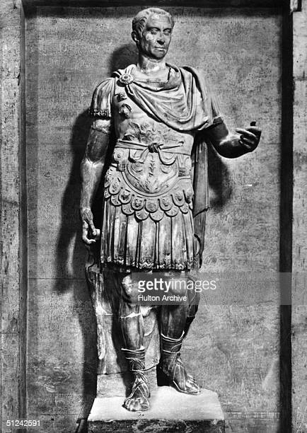 Circa 50 BC A statue of Roman dictator Julius Caesar dressed in armour
