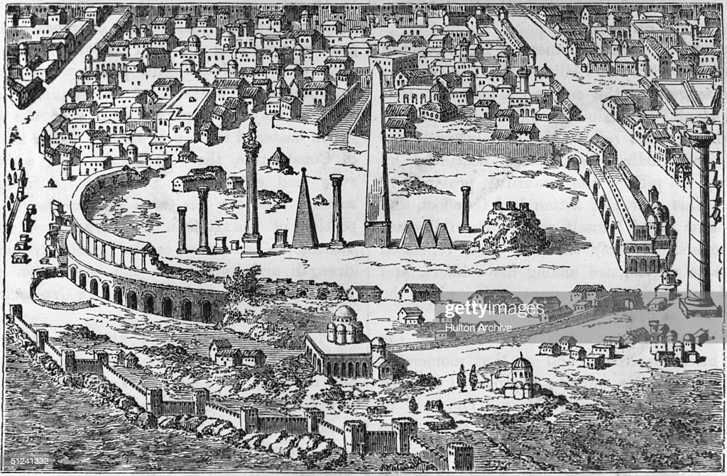 Circa 500 AD, The circus and hippodrome of Christian Constantinople with several obelisks amid the central ruins. Original Publication: From an engraving in the 'Imperium Orientale'.