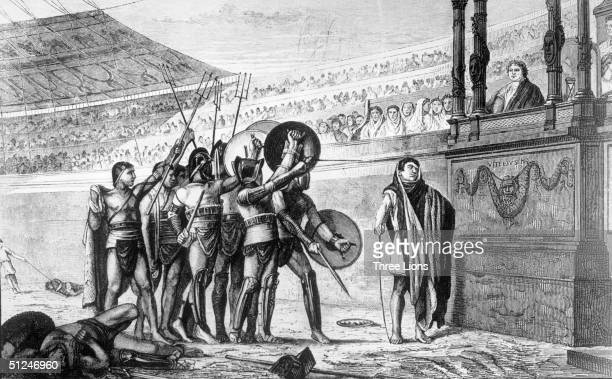 Circa 55 BC A group of gladiators salute the emperor at the Circus Maximus in Rome