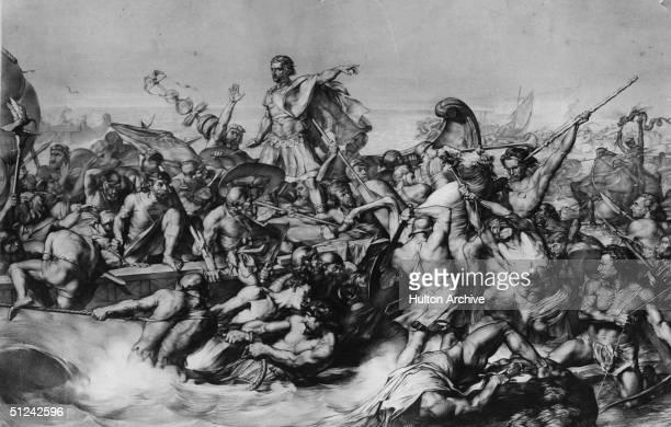 Circa 55 BC Julius Caesar Roman general and statesman landing his craft in the midst of a battle during his invasion of Britain Original Artwork...