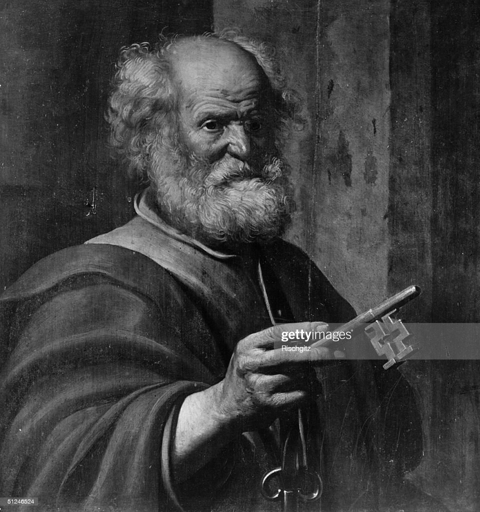 Circa 64 AD, 1st century apostle St Peter with the keys of the Kingdom of Heaven, with which he was entrusted.