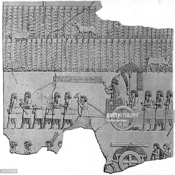 Circa 750 BC Sennacherib king of Assyria supervises the moving of a colossus on the mound of Kouyunjik at Nineveh ancient capital of the Assyrian...
