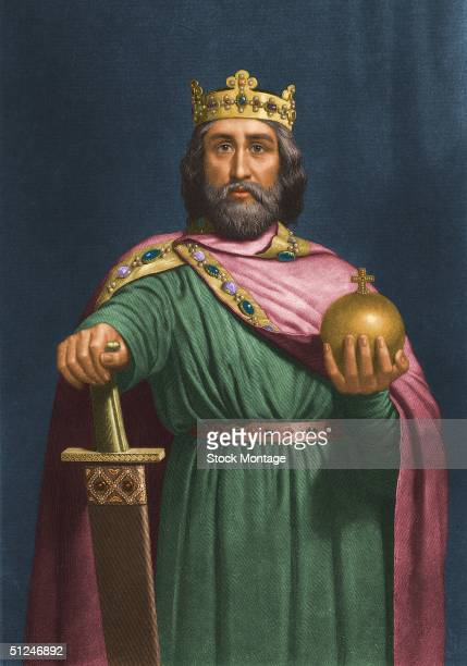 Circa 800 AD Charlemagne or Charles the Great King of the Franks and Emperor of the West from 800 until his death He is holding an orb and a jewelled...