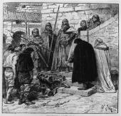 Circa 850 AD A group of Vikings with the Danegelt first collected from France in 845 AD The Vikings raided as far as Seville in Spain