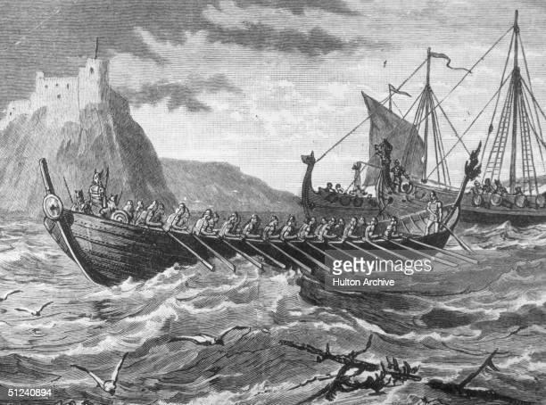 Circa 900 AD Viking ships invading England