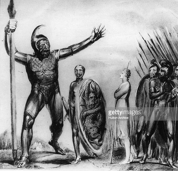 Circa 930 BC David the first king of the Judean dynasty of Israel regards the giant Goliath Original Artwork Original Artwork After a painting by...