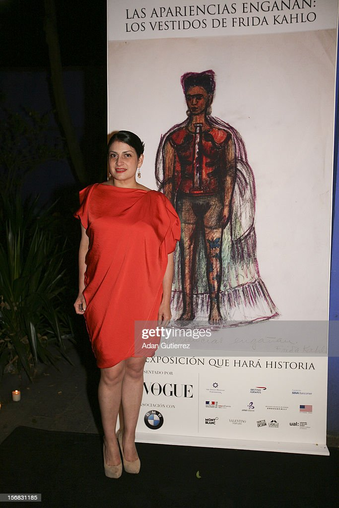 Circe Henestrosa poses for a photo during the presentation of the exhibition Las Apariencias Engañan: The Frida Kahlo Dresses presented by Vogue magazine at Frida Kahlo´s museum on November 21, 2012 in Mexico City, Mexico.