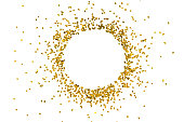 Circle gold glitter splash isolated on white background object decoration party merry christmas happy new year backdrop design