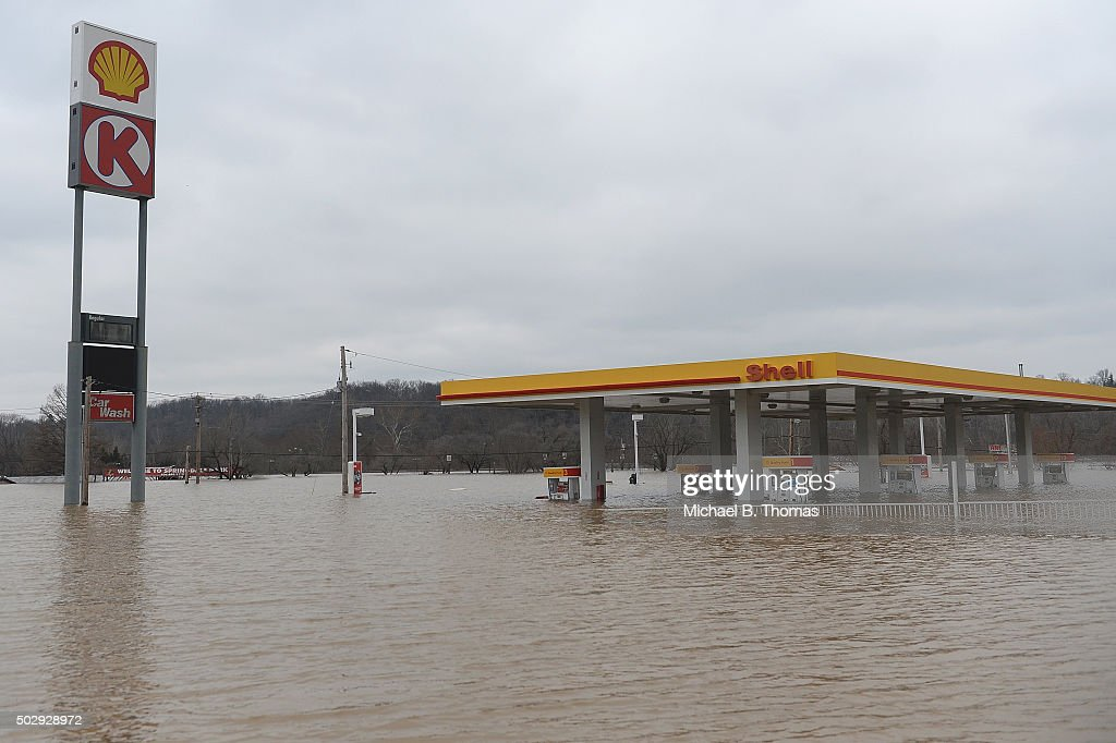 Circle K gas station is completely submerged on Route 141 on December 30 2015 in Fenton Missouri The St Louis area and surrounding region are...
