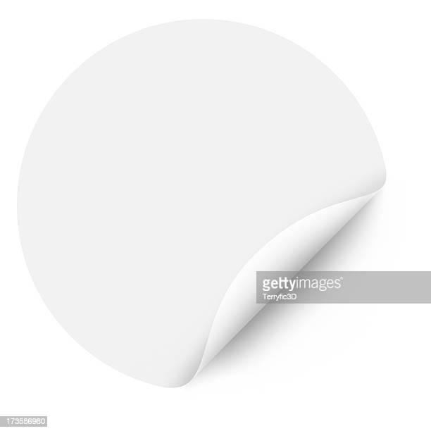 Cercle Label autocollant peeling, avec bord arrondi, 3 Tracés de détourage