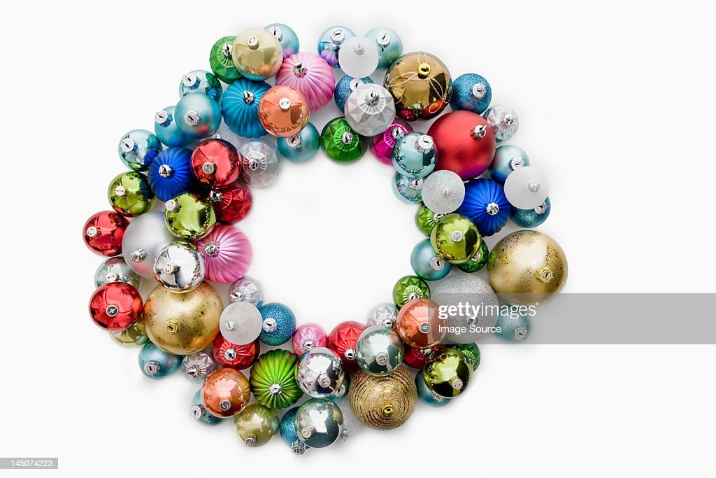 Circle made of christmas baubles : Stock Photo