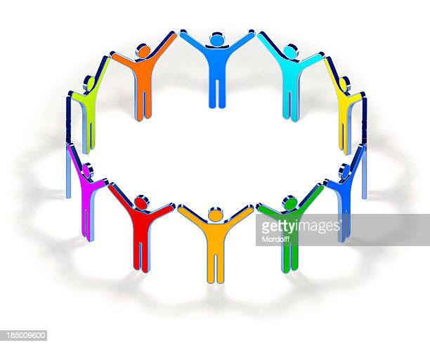 Circle of colorful people