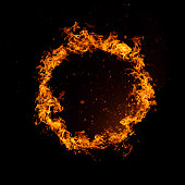 Circle of fire isolated on black