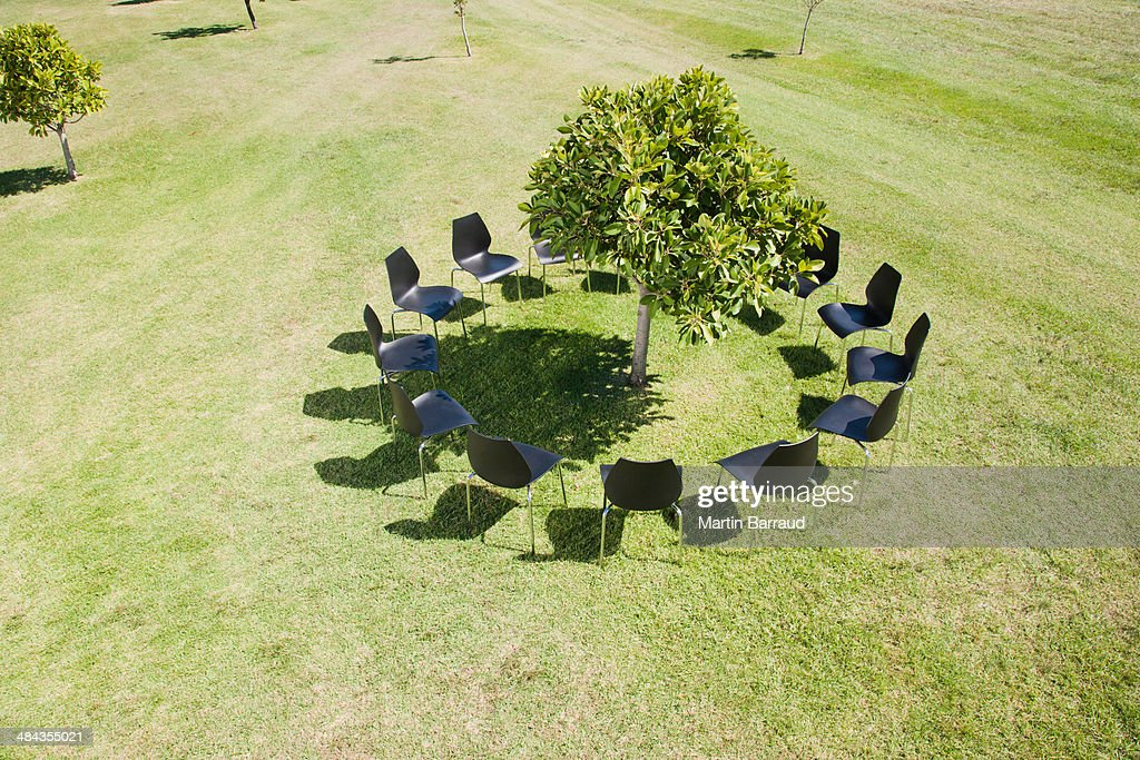 Circle of office chairs around tree in field : Stock Photo