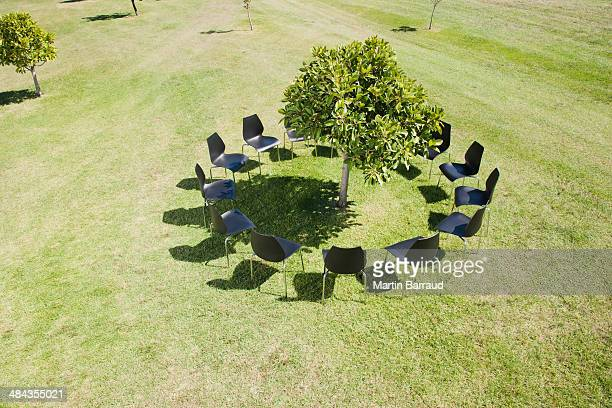 Circle of office chairs around tree in field