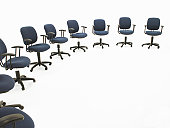 Circle of office chairs