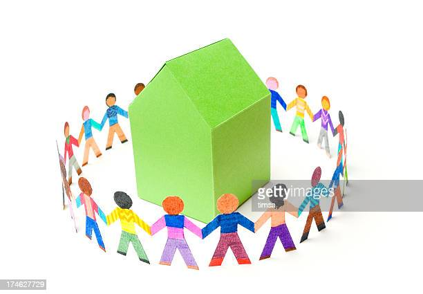 Circle of people around a house